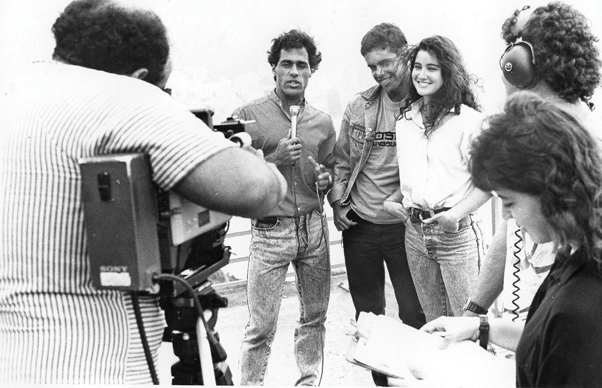 Bocão apresentando o Realce com Antônio Ricardo e Patrícia Prado, 1985. Foto: Arquivo Pessoal