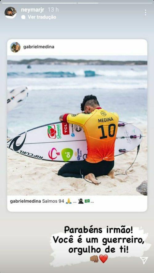 neymar comemora vitória de gabriel medina na WSL